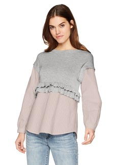 kensie Women's Drapey French Terry Sweatshirt  L