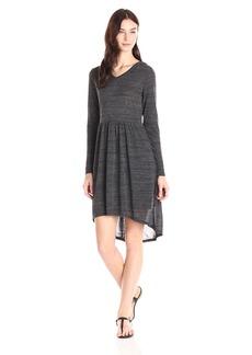 Kensie Women's Drapey Space Dye Jersey Long Sleeve Hooded Dress