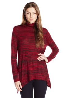 Kensie Women's Drapey Space Dye Longsleeve Turtleneck Top