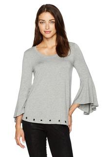kensie Women's Drepey French Terry Bell Sleeve Grommet Sweatshirt  L