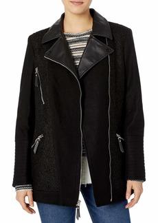 kensie Women's Elongated Asymetrical Zip Moto Inspired Coat with Pu Detail  M