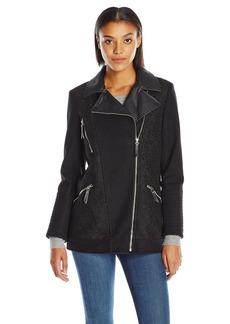 Kensie Women's Elongated Asymetrical Zip Moto Inspired Coat With PU Detail  XS