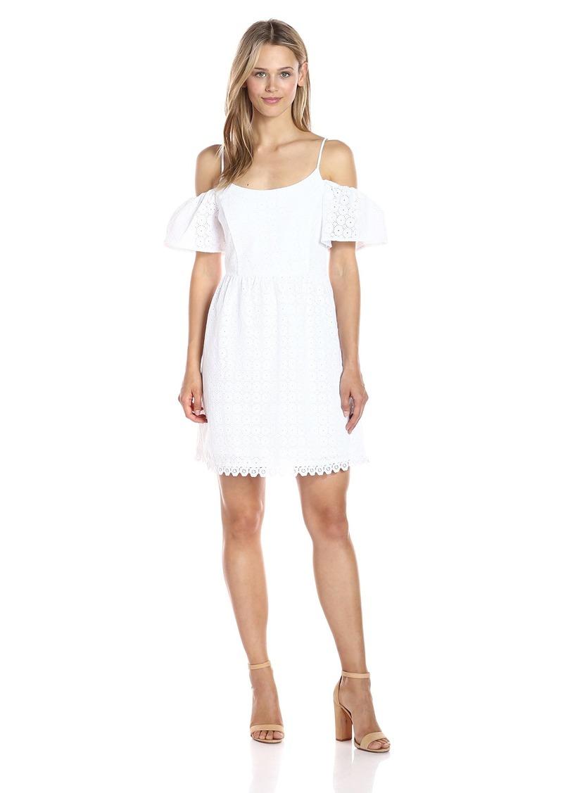 Kensie Women's Eyelet Dots Cold Shoulder Dress  L