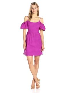 kensie Women's Eyelet Dots Cold Shoulder Dress  S
