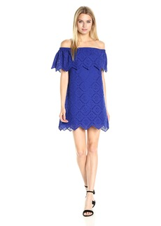 kensie Women's Eyelet Off The Shoulder Dress  L