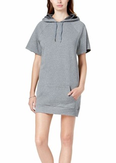 kensie Women's Faded Fleece Sweatshirt Hoodie Dress Heather ash