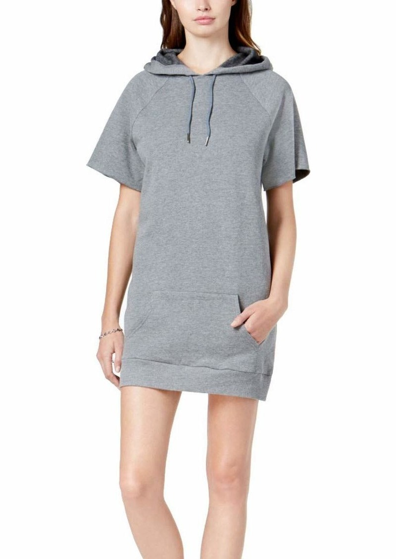 kensie Women's Faded Fleece Sweatshirt Hoodie Dress Heather ash