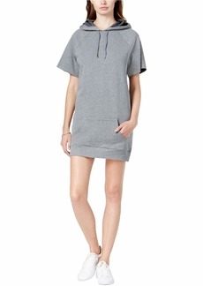 kensie Women's Faded Fleece Sweatshirt Hoodie Dress Heather ash L