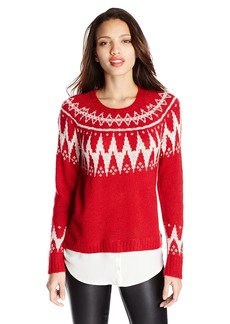 kensie Women's Fair Isle Twofer Sweater