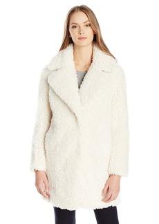 kensie Women's Faux Fur Teddy Notch Collar Coat  L