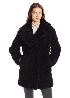 kensie Women's Faux Fur Teddy Notch Collar Coat  M