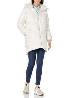kensie Women's Faux Fur Trim Hooded Puffer Coat  XL