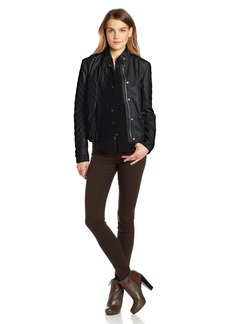 Kensie Women's Faux Leather Jacket Knit Sleeves