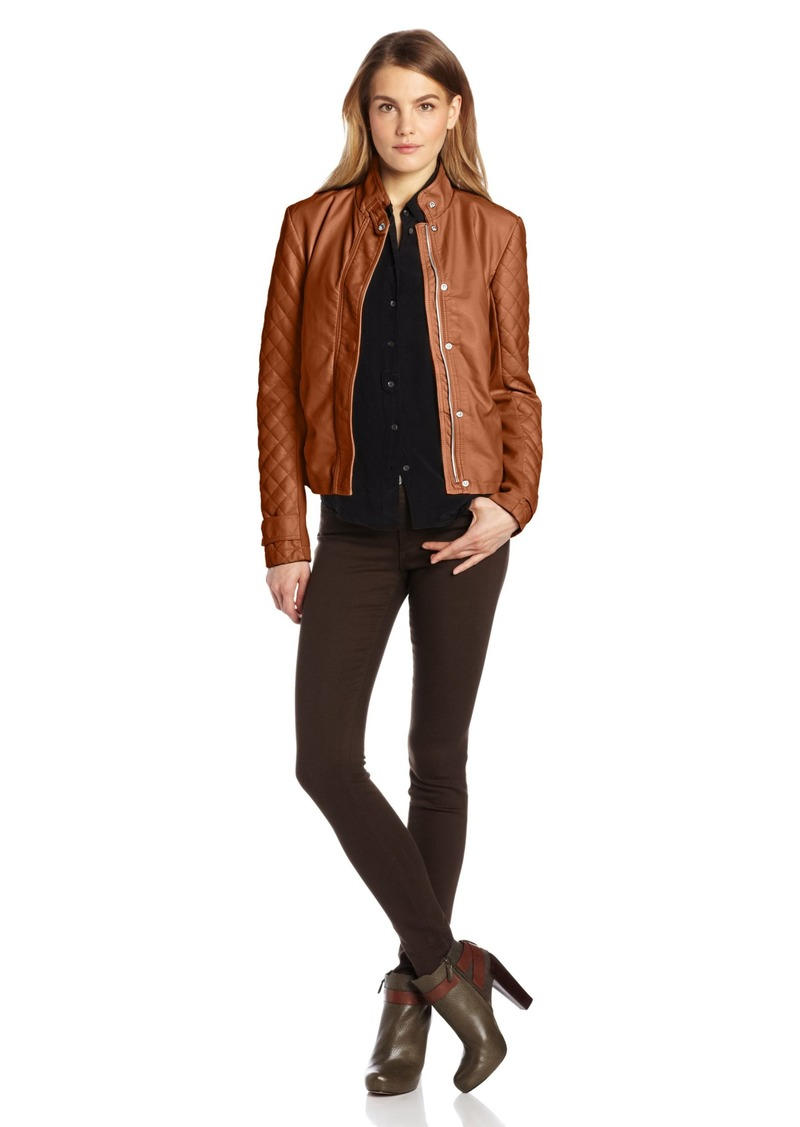 kensie Women's Faux-Leather Knit Sleeves Jacket