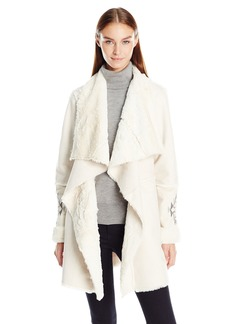 Kensie Women's Faux Shearling Coat with Water Fall Front and Emboridered Sleeves  XS