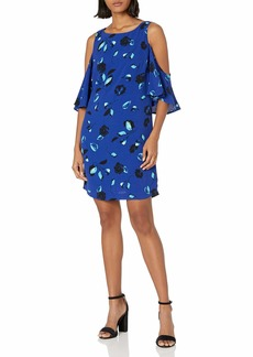 kensie Women's Floating Petal Print Cold Shoulder Dress  M