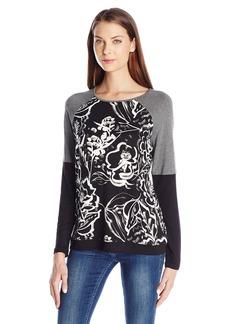 kensie Women's Floral Brushstroke Sweatshirt