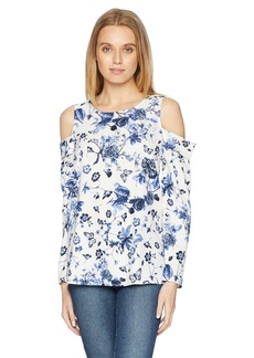 kensie Women's Floral Cold Shoulder Top  M