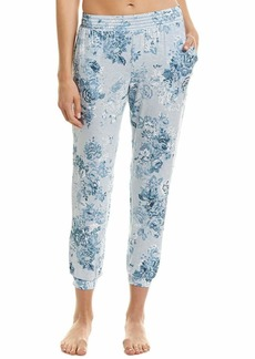 kensie Women's Floral Cropped Jogger Pajama Pant Blue Heather M