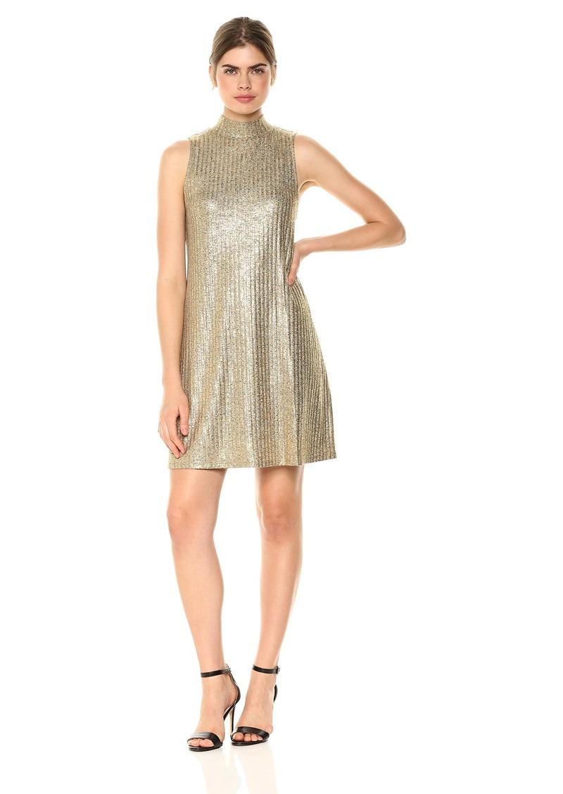 Kensie Women's Foiled Rib Shift Swing Dress  L
