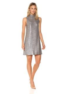 Kensie Women's Foiled Rib Shift Swing Dress  M