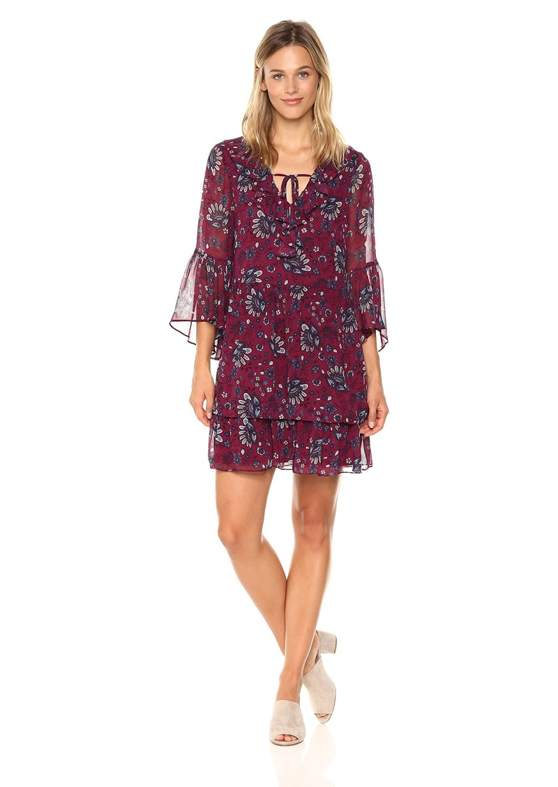 Kensie Women's Folk Floral Print Bell Sleeve Dress  L