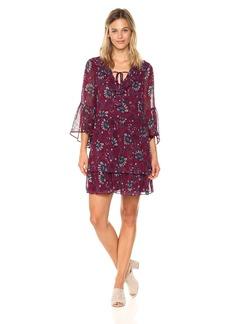 Kensie Women's Folk Floral Print Bell Sleeve Dress  S