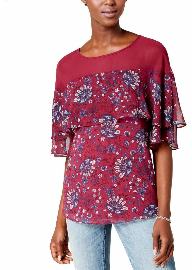kensie Women's Folk Floral Print Woven Ruffle Top  S
