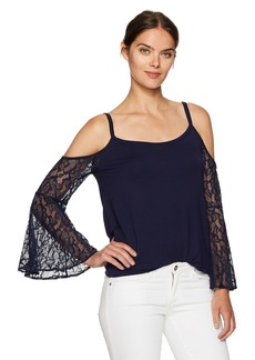 Kensie Women's French Terry Cold Shoulder Sweatshirt with Lace Sleeves  L