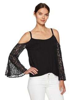 kensie Women's French Terry Cold Shoulder Sweatshirt with Lace Sleeves  M