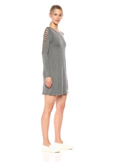 kensie Women's French Terry Cross Hatch Sleeve Dress Heather ash XL