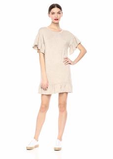 kensie Women's French Terry Ruffle Hem Dress  L