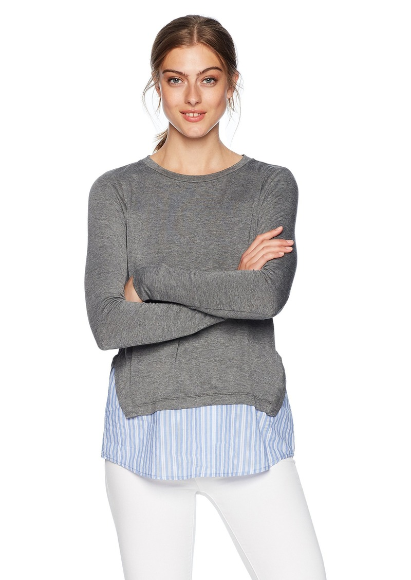 kensie Women's French Terry Twofer Top Heather ash Combo S