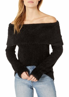 Kensie Women's Faux Fur Yarn Marylin Sweater black