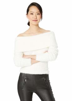 kensie Women's Furry Off The Shoulder Sweater  L