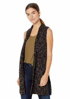 kensie Women's Fuzzy Twisted Flecks Vest  M