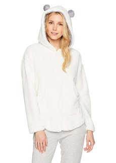 kensie Women's Fuzzy Zip up Sweatshirt  L/XL