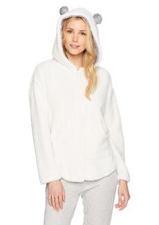 kensie Women's Fuzzy Zip up Sweatshirt  S/M