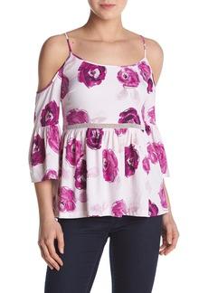 kensie Women's Garden Rose Print Cold Shoulder Top  XS
