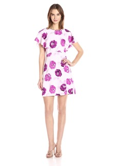 kensie Women's Garden Rose Print Flutter Sleeve Dress  L