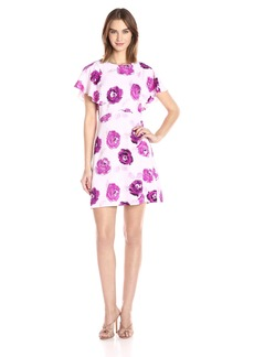Kensie Women's Garden Rose Print Flutter Sleeve Dress  S