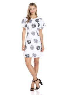 Kensie Women's Garden Rose Print Flutter Sleeve Dress  XL