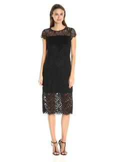 kensie Women's Geo Leaf Lace Dress  L