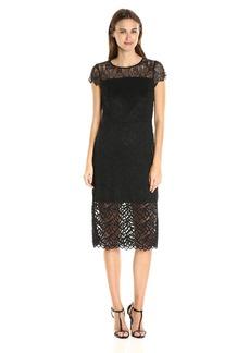 kensie Women's Geo Leaf Lace Dress  S