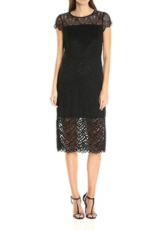 kensie Women's Geo Leaf Lace Dress  L
