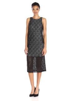 Kensie Women's Geo Stretch Lace Midi Dress