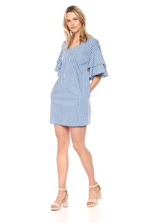 kensie Women's Gingham Check Tiered Sleeve Dress  M