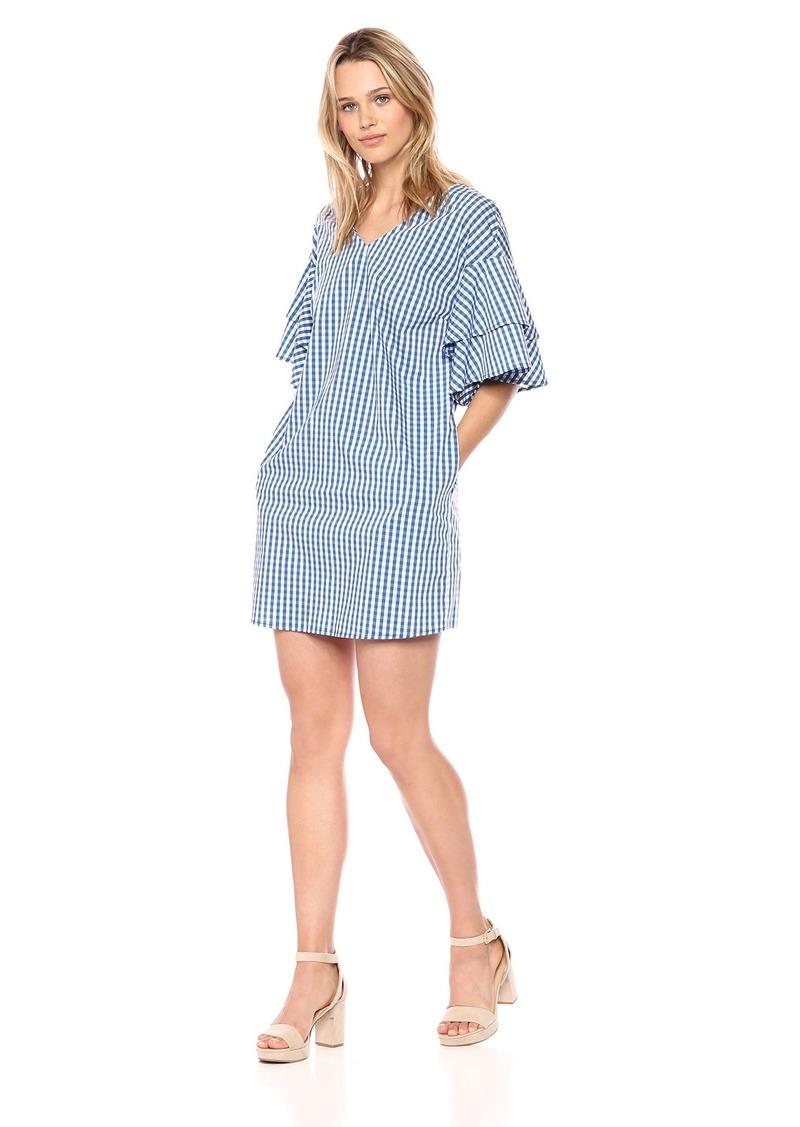 kensie Women's Gingham Check Tiered Sleeve Dress  M