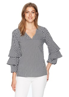 kensie Women's Gingham Check Tiered Sleeve Top  L