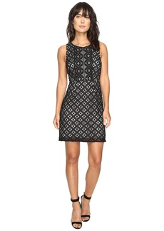 kensie Women's Graphic Geo Lace Dress